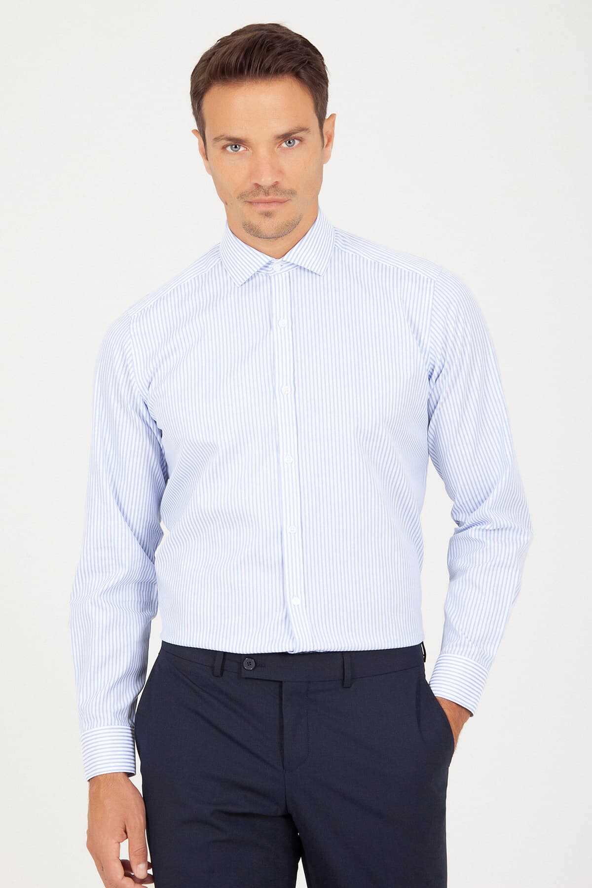 Hatem Saykı - Light Blue Classic Striped Shirt