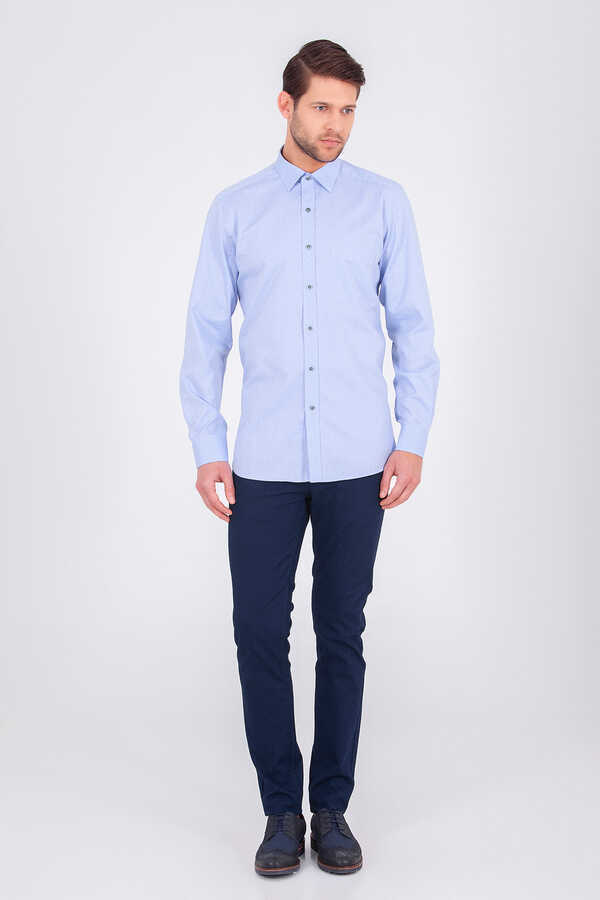 HTML - Mid Blue Slim Fit Plain Dress Shirt