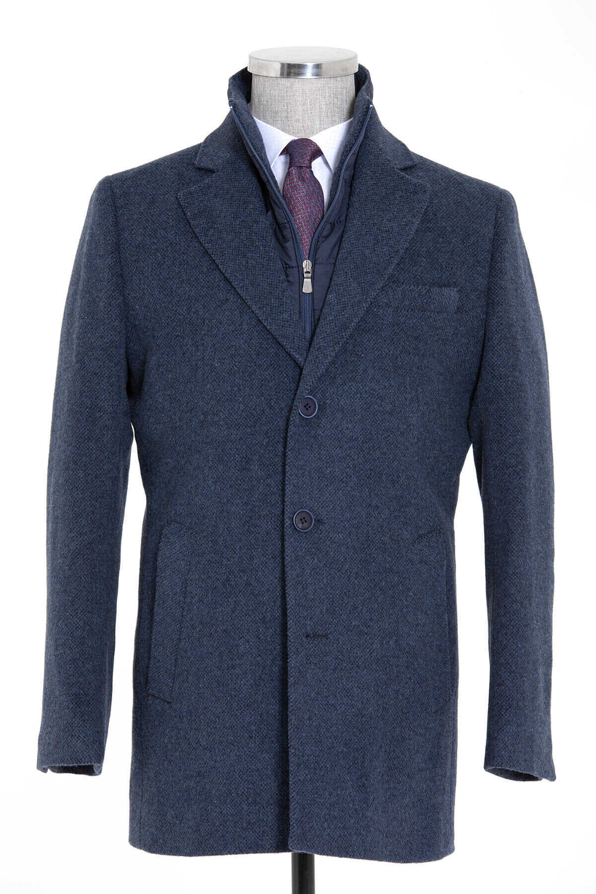 - Navy Patterned Slim Fit Coat