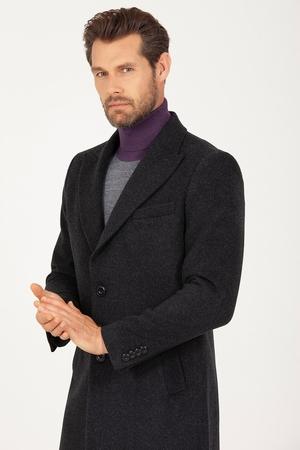 Hatem Saykı - Antrachite Peak Lapel Wool Overcoat