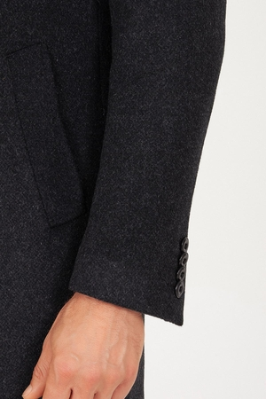 Antrachite Peak Lapel Wool Overcoat - Thumbnail