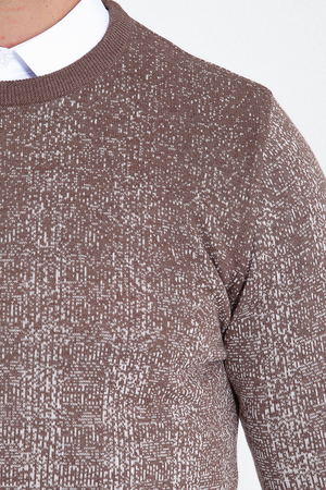 Beige Patterned Crew Neck Brown Sweater - Thumbnail