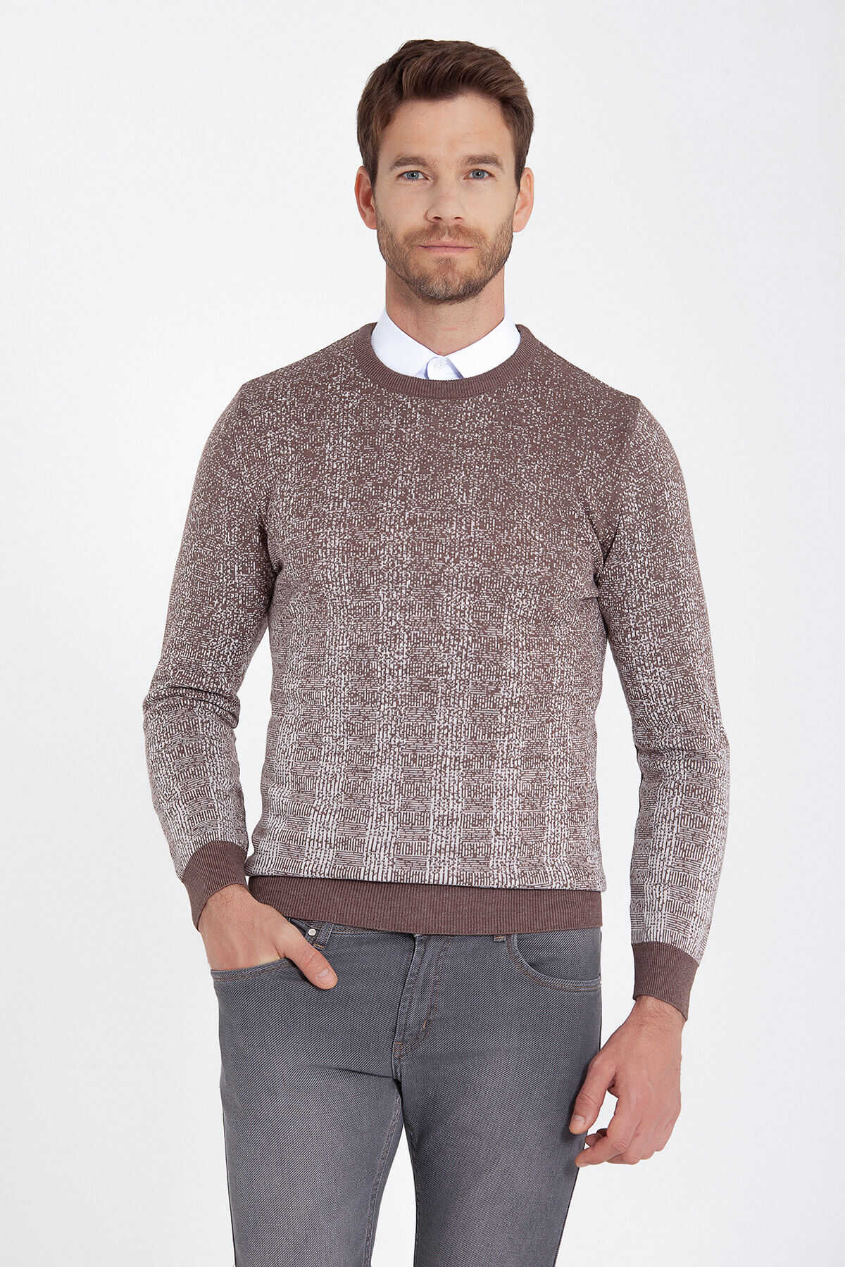 HATEMOĞLU - Beige Patterned Crew Neck Brown Sweater
