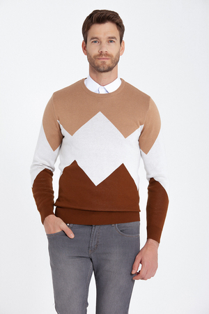 HATEM SAYKI - Beige Patterned Crew Neck Sweater