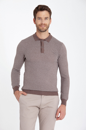 Beige Patterned Polo Neck Sweater - Thumbnail