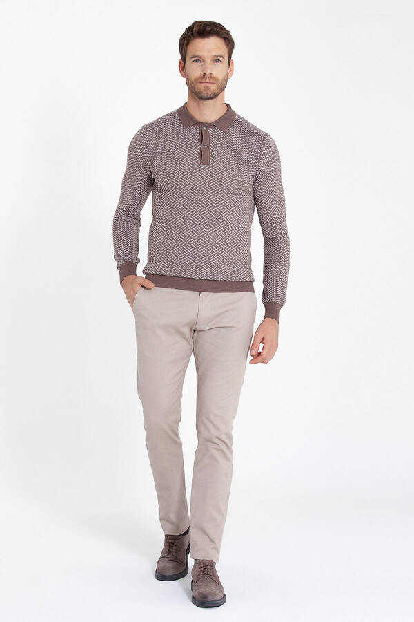 Beige Patterned Polo Neck Sweater