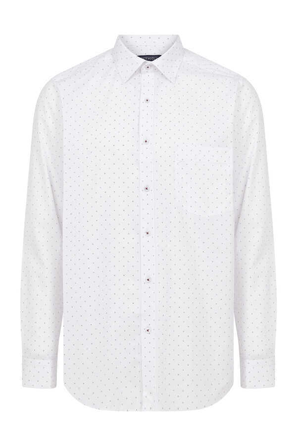 Hatemoğlu - White Maroon Polka Dot Dress Shirt