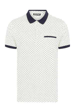 Hatemoğlu - White Printed Polo T-Shirt