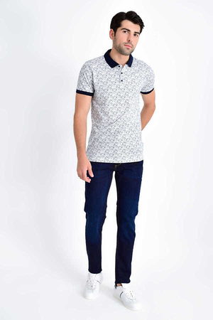 HTML - White Navy Printed Polo T-Shirt