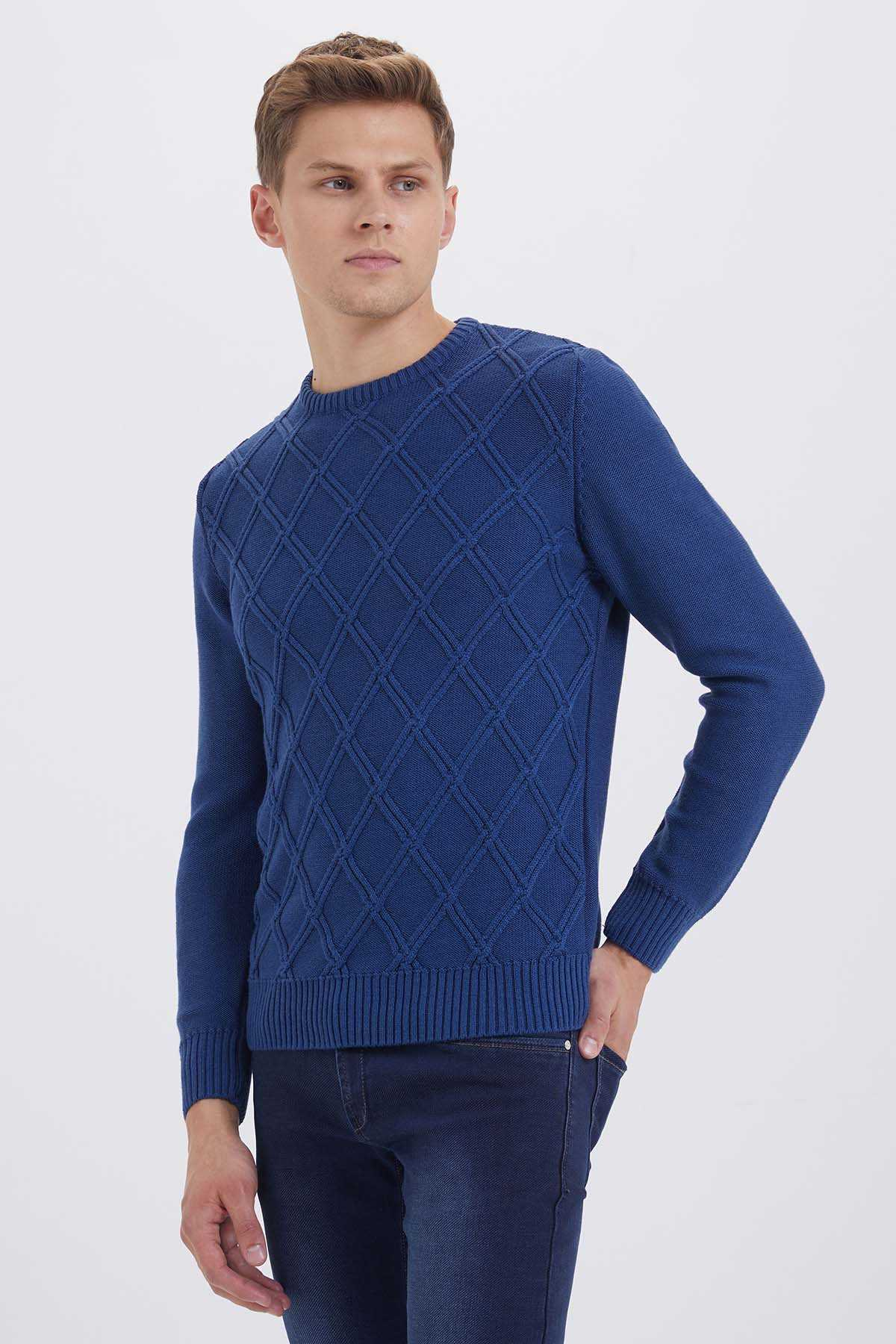 Hatem Saykı - Crew Neck Blue Sweater
