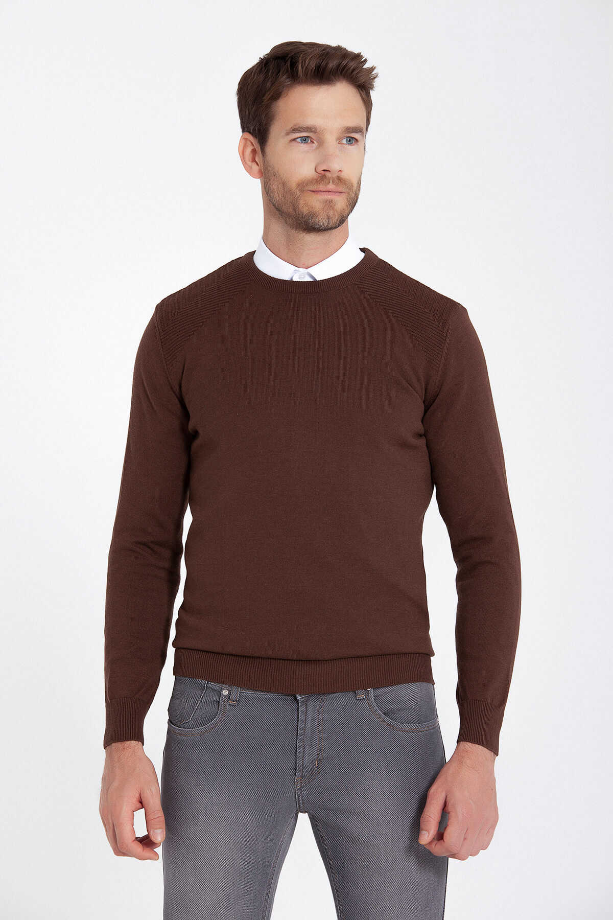 HATEMOĞLU - Crew Neck Brown Sweater