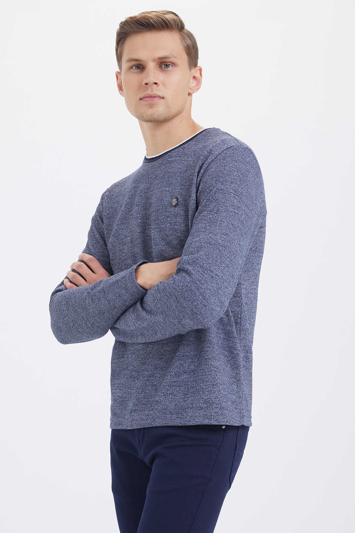 HTML - Crew Neck Navy Sweatshirt