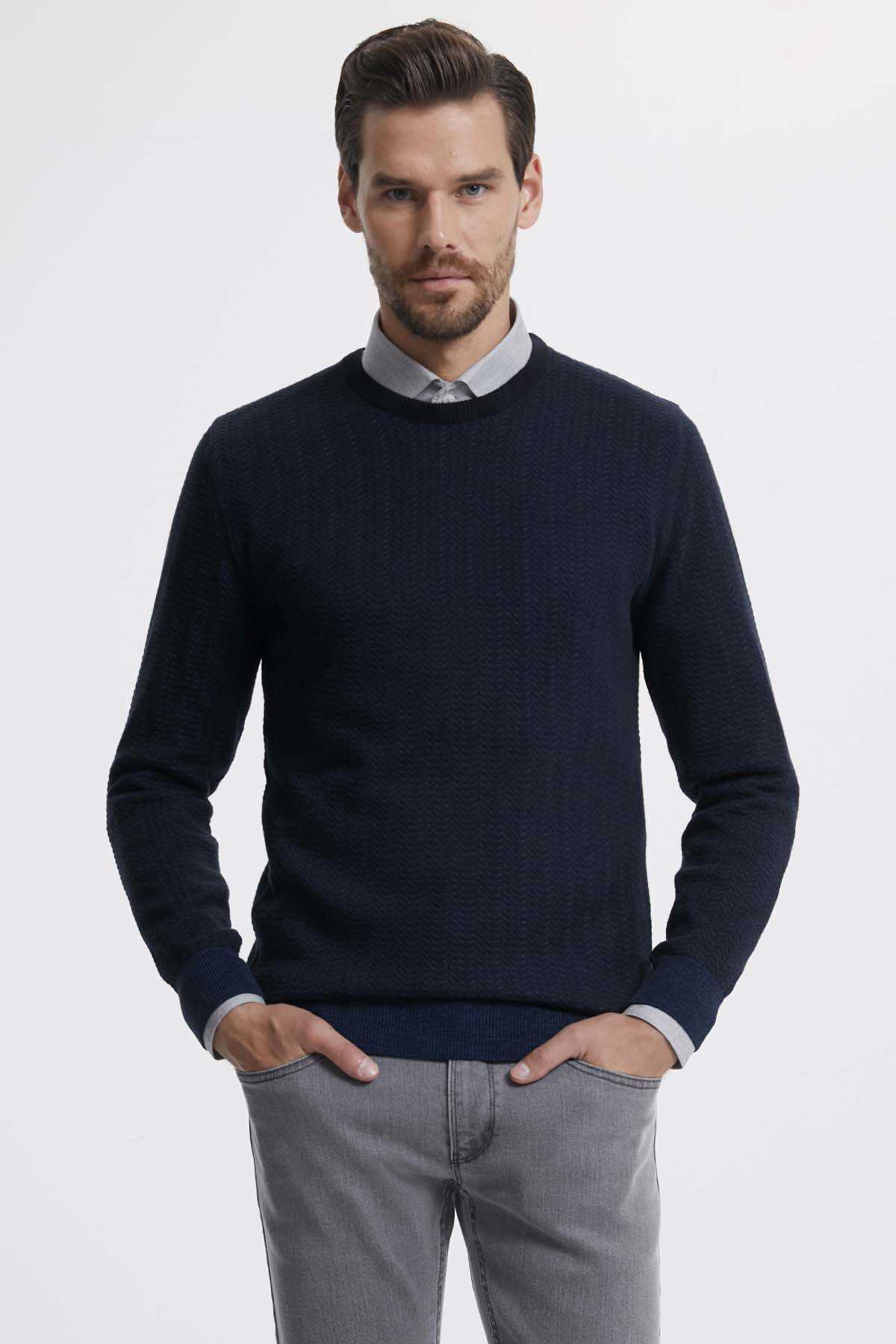 Hatemoğlu - Crew Neck Navy Sweater