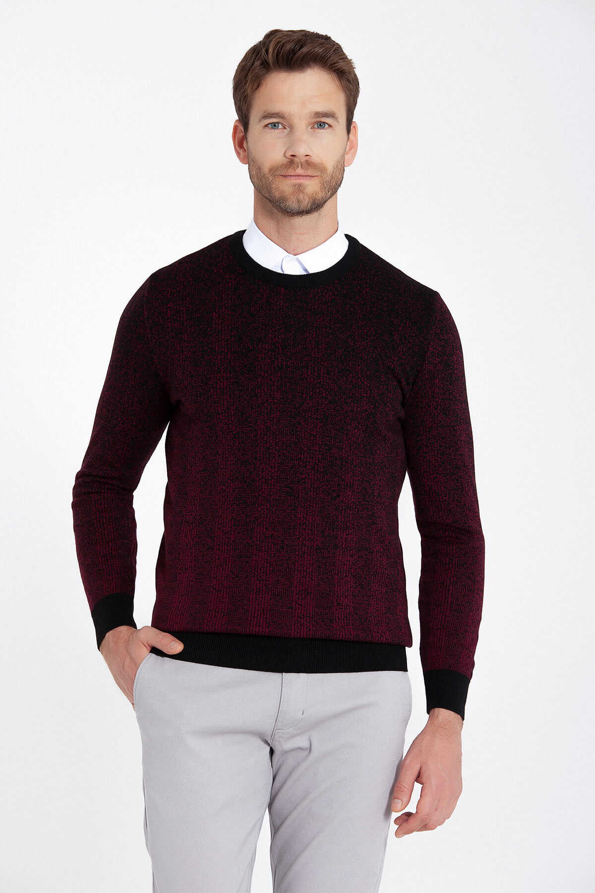 HATEMOĞLU - Burgundy Patterned Crew Neck Black Sweater