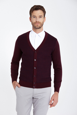 Burgundy Patterned Sweater Cardigan - Thumbnail