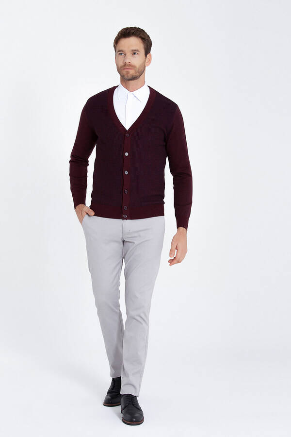 Burgundy Patterned Sweater Cardigan