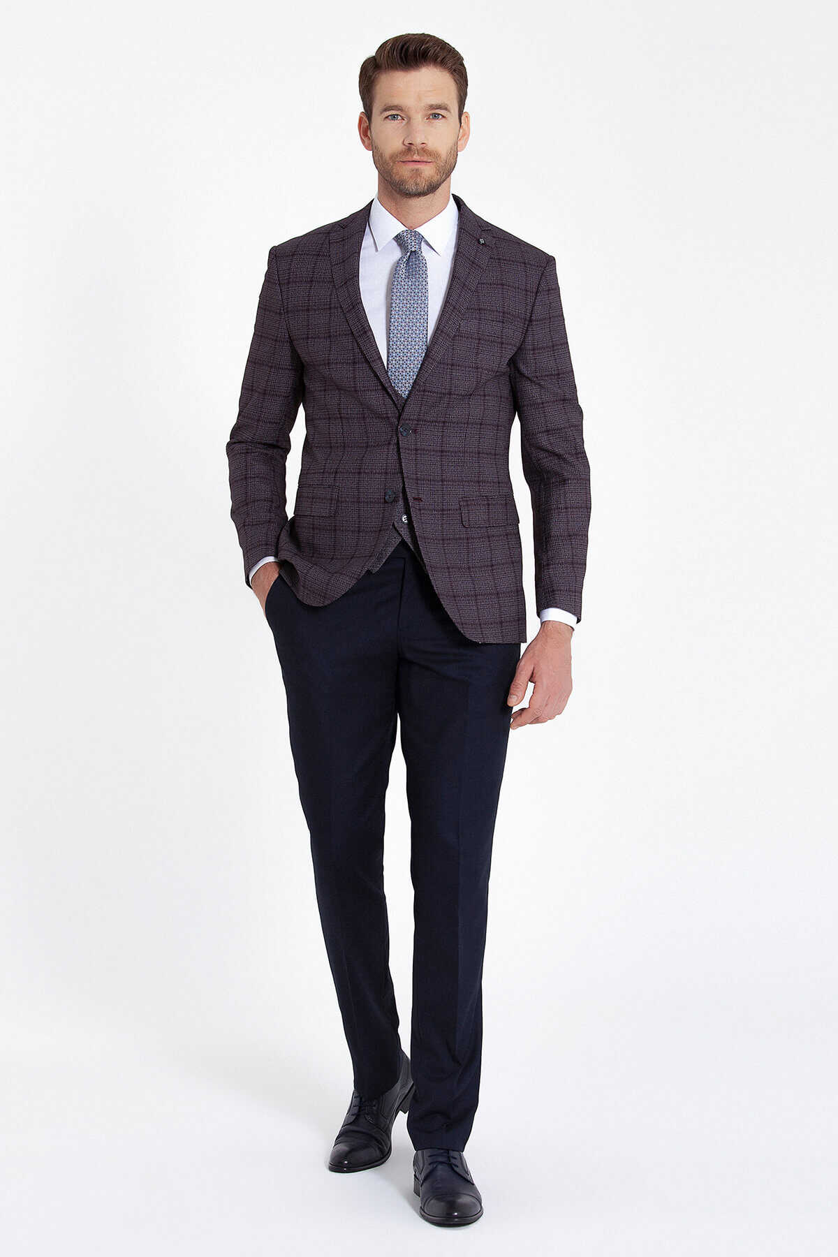 Hatemoğlu - Burgundy Plaid Vested Suit