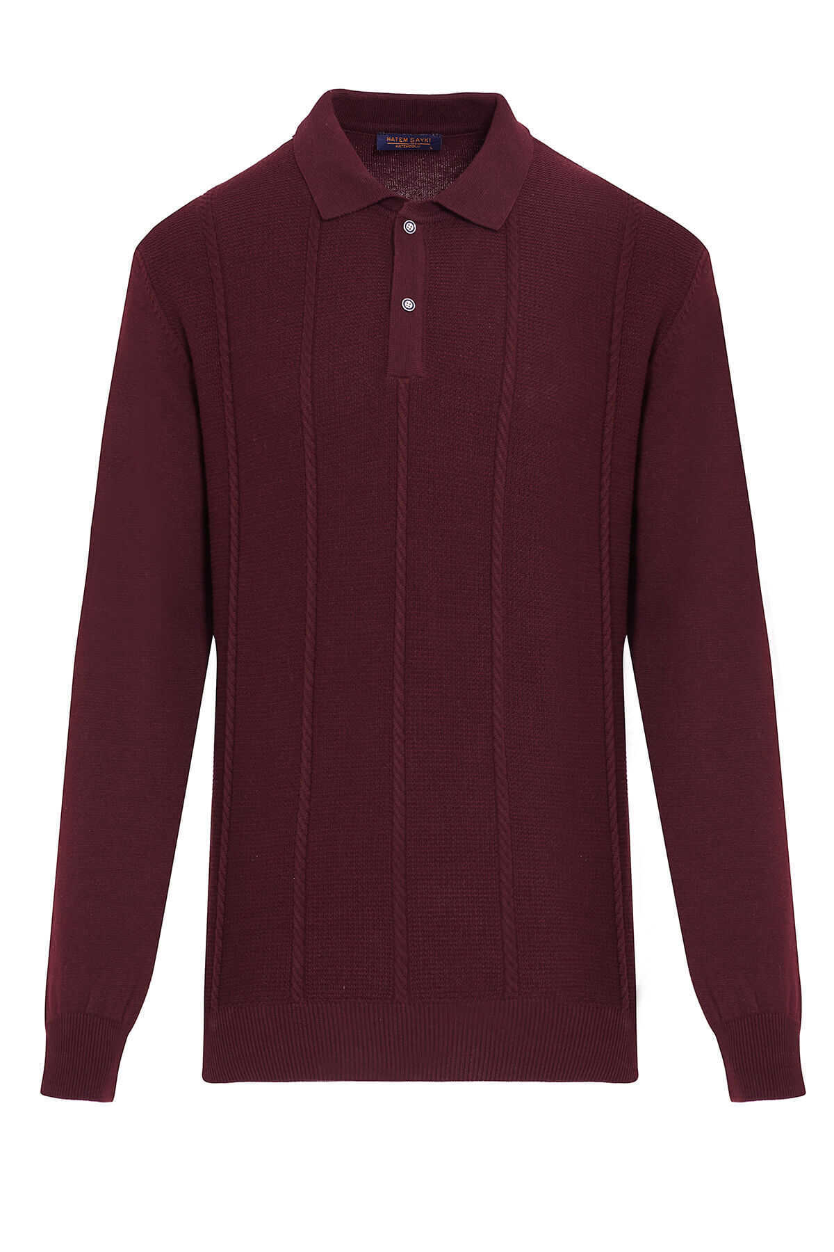 - Burgundy Polo Neck Buttoned Sweater