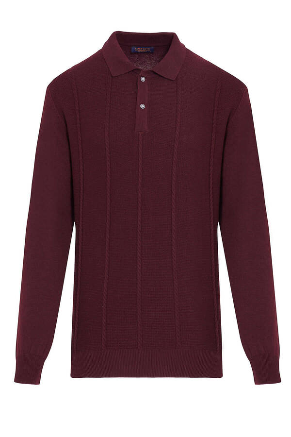 Burgundy Polo Neck Buttoned Sweater