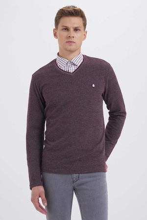 HTML - Burgundy V Neck Sweatshirt