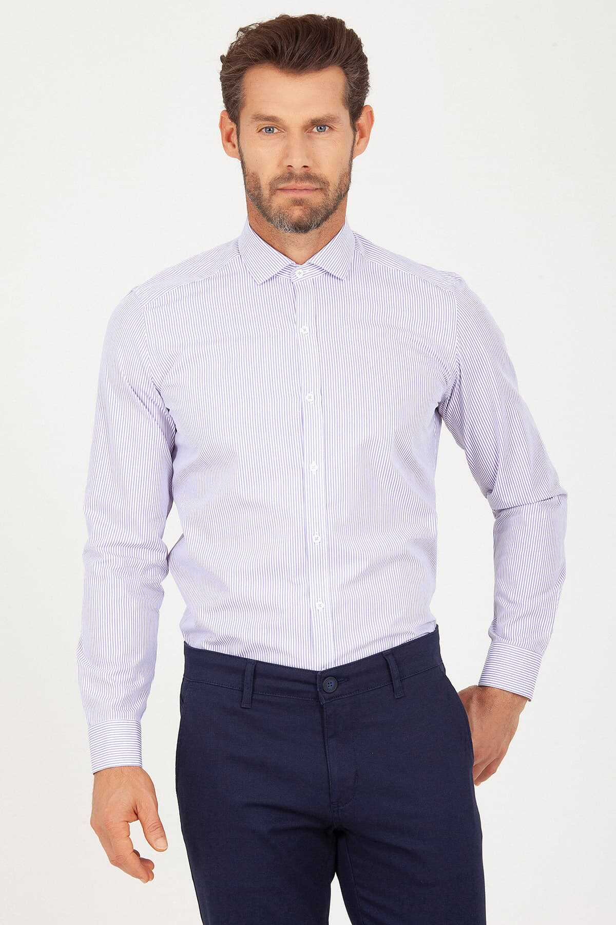 Hatem Saykı - Striped Purple Slim Fit Shirt