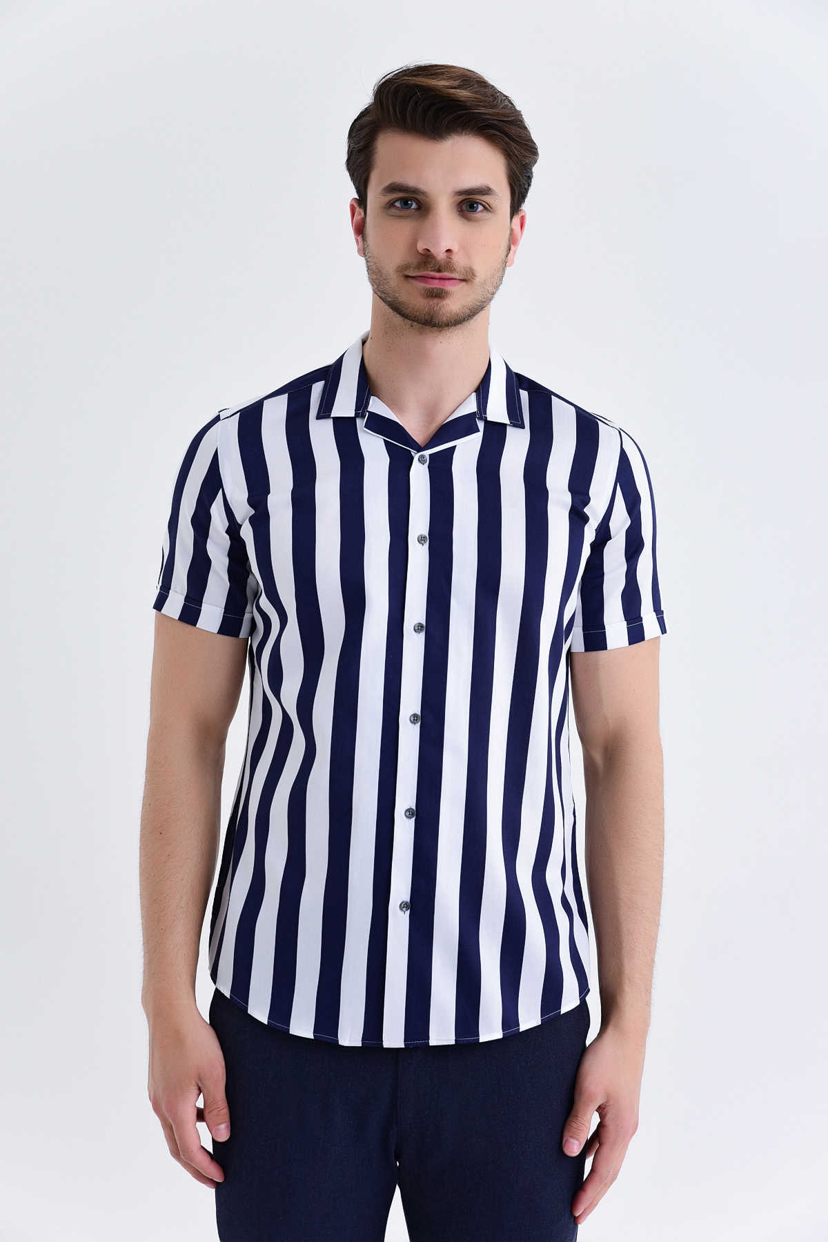 Hatem Saykı - Striped Slim Fit Navy Shirt