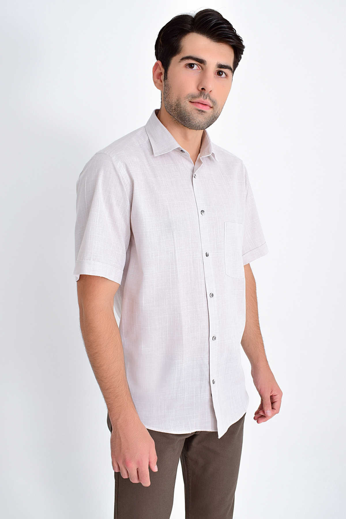 Hatemoğlu - Patterned Classic Brown Shirt