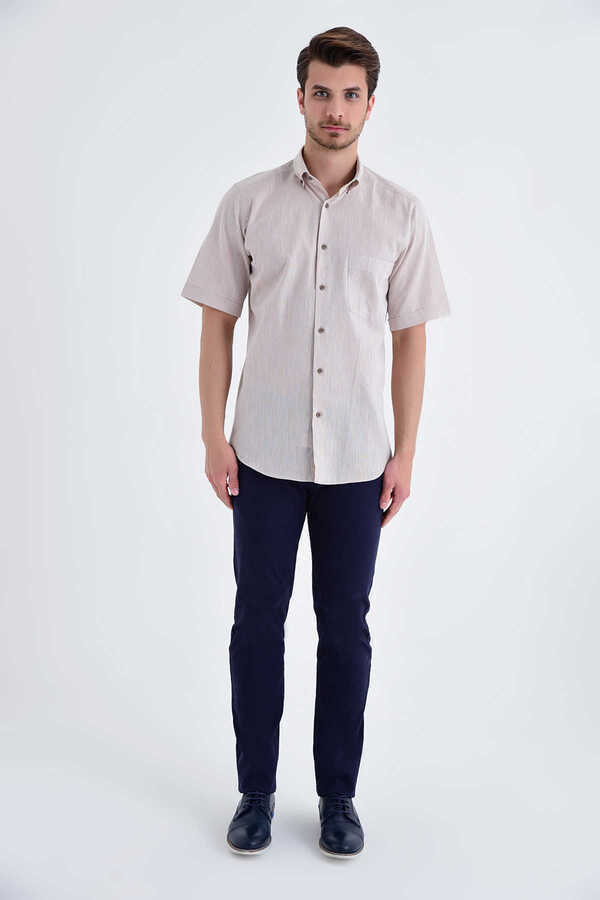 Hatemoğlu - Beige Button Down Short Sleeve Dress Shirt
