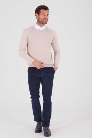 HTML - Beige Cotton Crew Neck Sweater