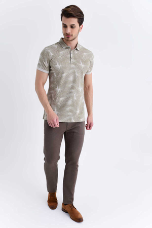 HTML - Beige Printed Polo T-Shirt