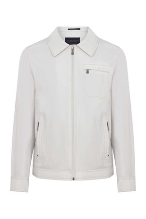 Beige Round Collar Casual Jacket - Thumbnail