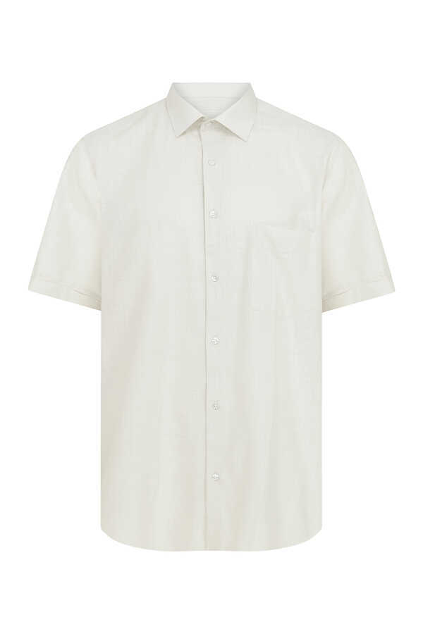 Hatemoğlu - Beige Short Sleeve Dress Shirt