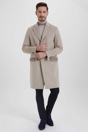 Beige Wool Pocket Coat - Thumbnail