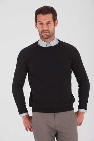 Black Cotton Crew Neck Sweater - Thumbnail