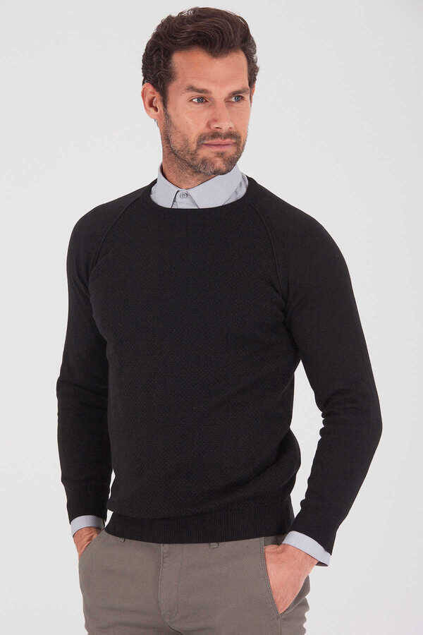 Black Cotton Crew Neck Sweater