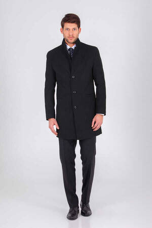 Black Grandad Collar Overcoat