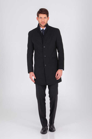 Black Grandad Collar Overcoat - Thumbnail
