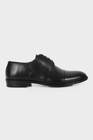 Black Leather Classic Oxford Shoes - Thumbnail