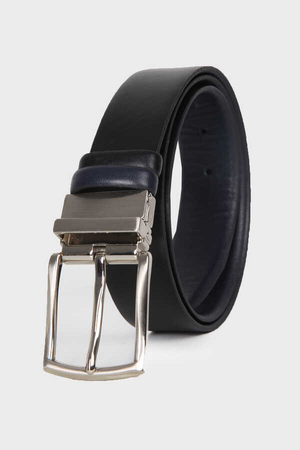 Black-Navy Leather Belt - Thumbnail
