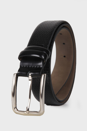 Black Polka Dot Leather Belt - Thumbnail