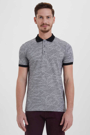 Black Printed Polo Shirt - Thumbnail