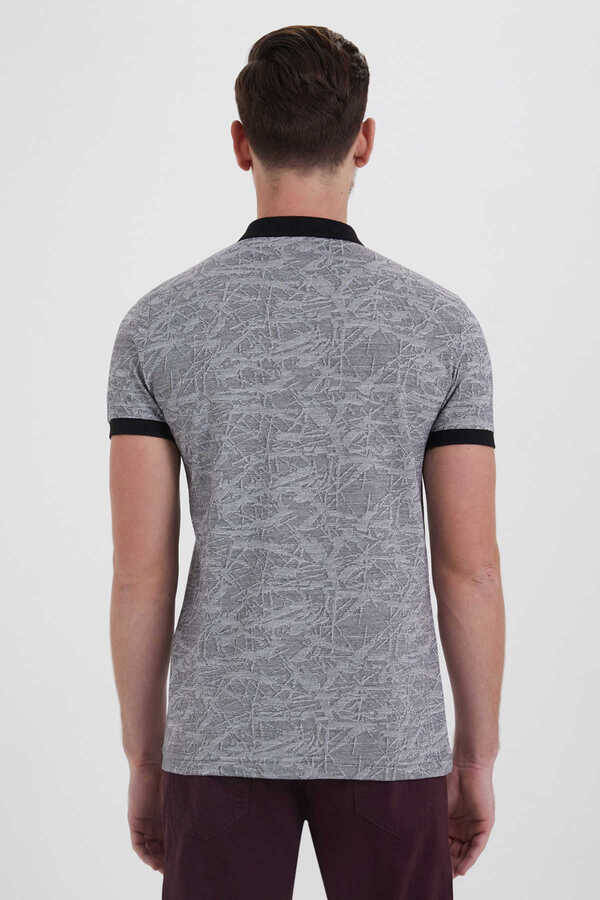 Black Printed Polo Shirt