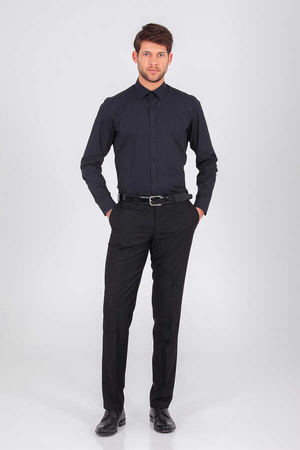 Hatem Saykı - Black Slim Fit Plain Shirt