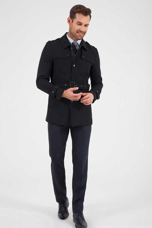 Hatem Saykı - Black Wool Round Collar Coat