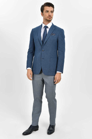 Hatem Saykı - Blue Bird's Eye Slim Fit Blazer