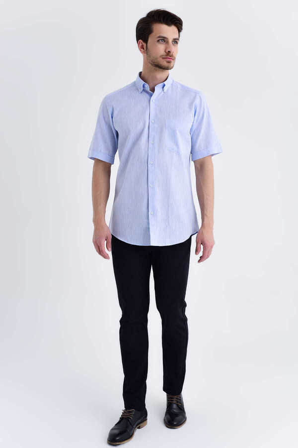 Hatemoğlu - Blue Button Down Short Sleeve Dress Shirt