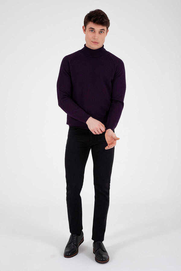 Purple Cotton Turtleneck Sweater