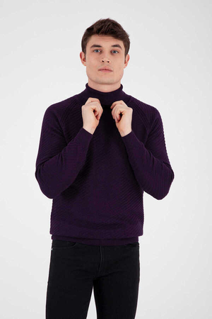 Purple Cotton Turtleneck Sweater - Thumbnail