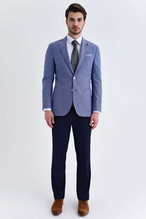 Hatem Saykı - Blue Crosshatch Slim Fit Blazer