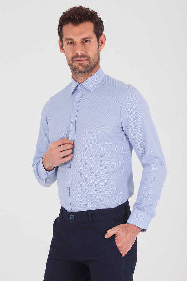 Blue Dobby Dress Shirt